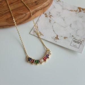 Jewelry - Rainbow Curve Crystal Bar Pendant Necklace